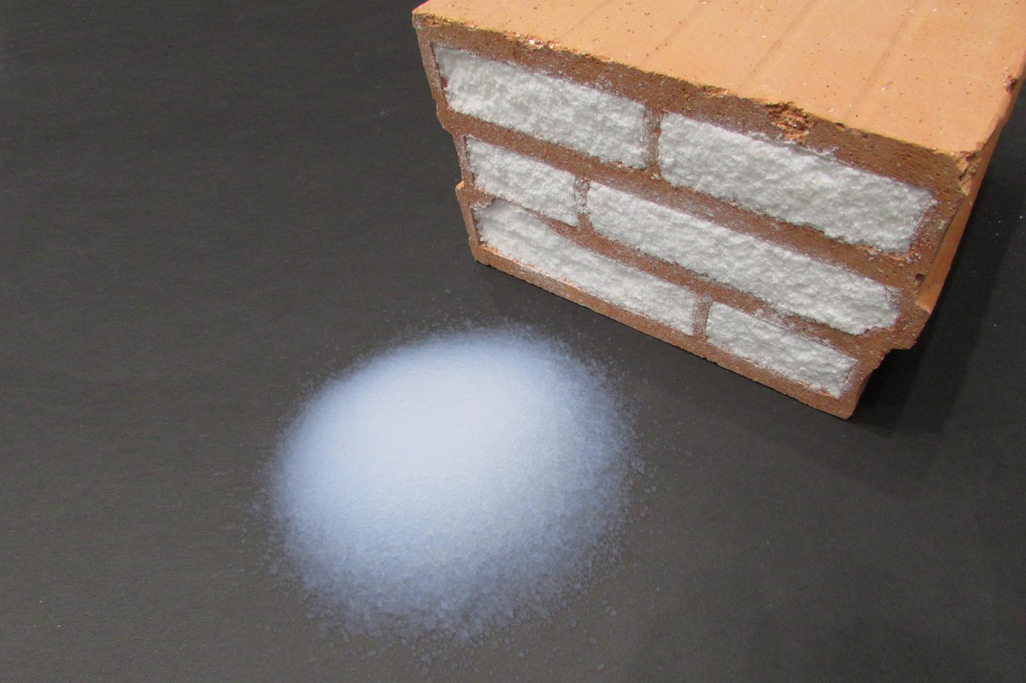 The aerobricks are simply ordinary hollow clay bricks, filled with an aerogel paste