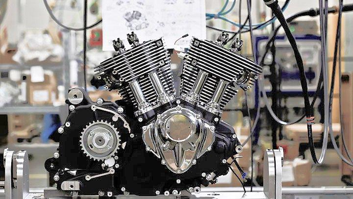 Indian Motorcycles Thunder Stroke 111 engine awaiting installation of its pistons