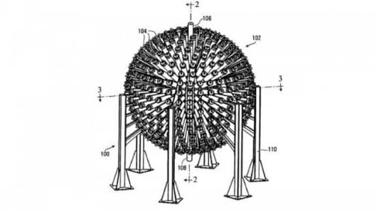 A picture from the patent filing for General Fusion's proposed fusion reactor.