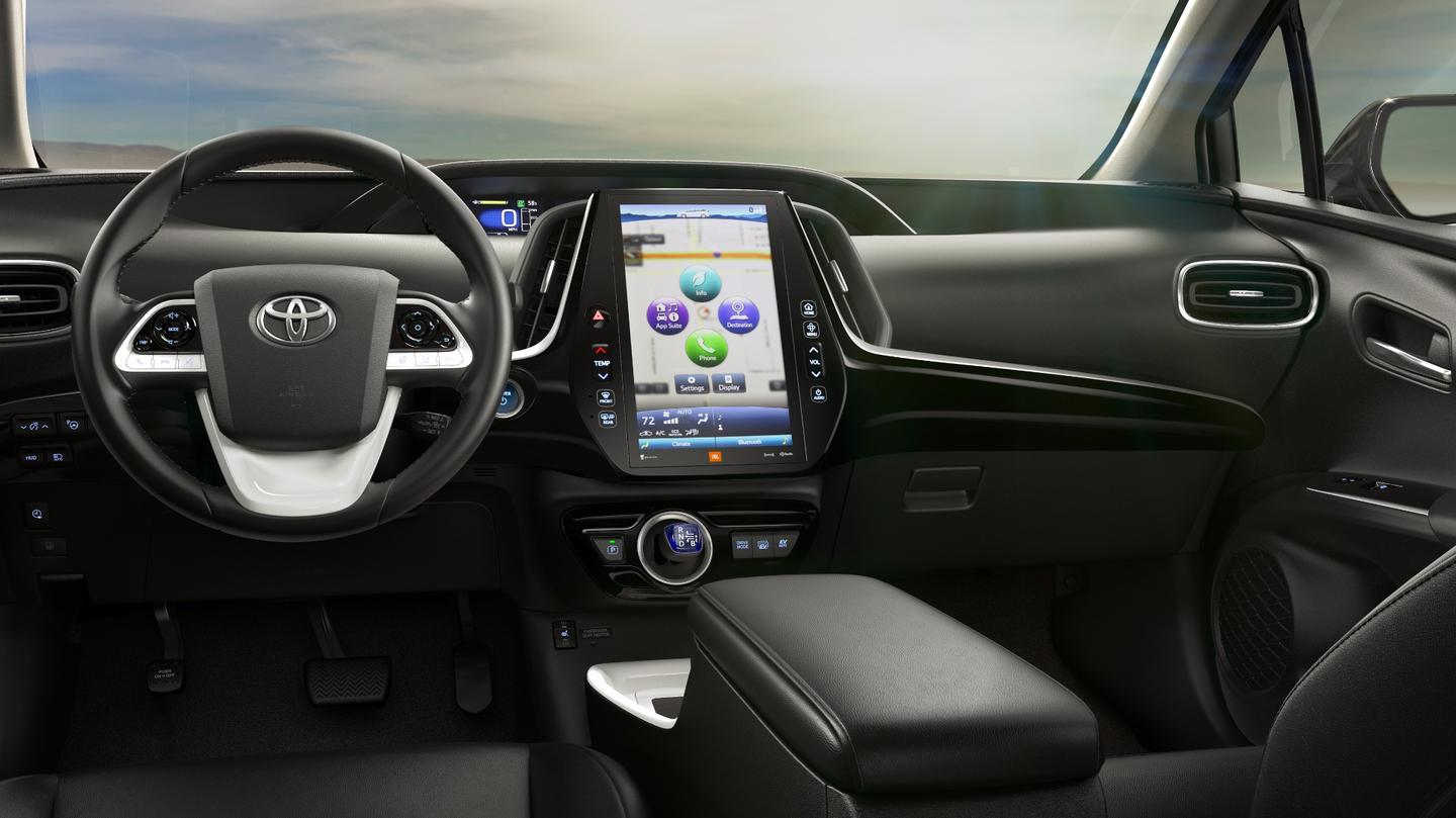 The car's interior is built around the same basic architecture as the regular Prius, albeit with some design tweaks