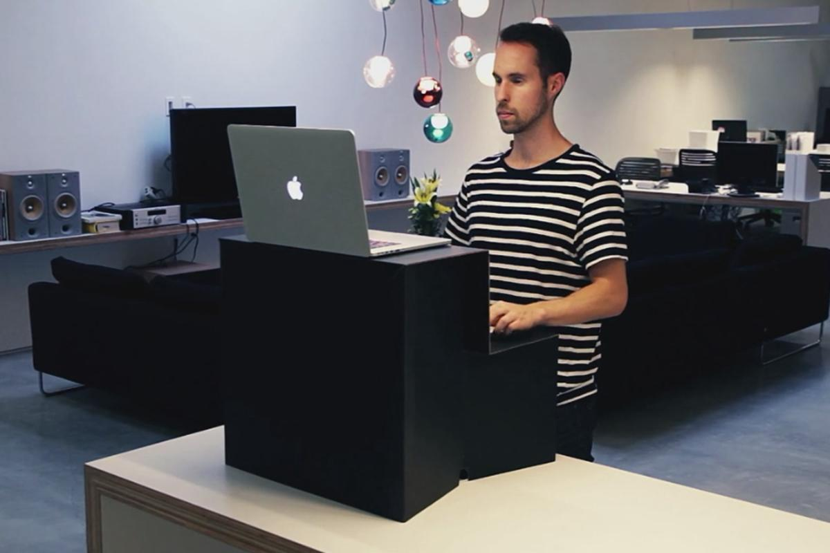 Oristand unfolds into a simple-yet-effective standing desk capable of accommodating most laptops, keyboards and mice