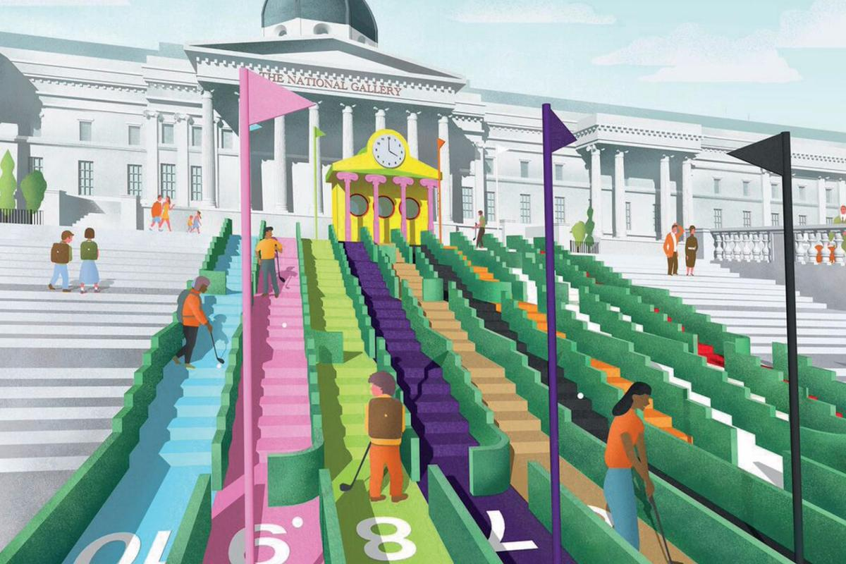 The project will see the iconic landmark transformed into a colorful, futuristic-looking crazy golf course