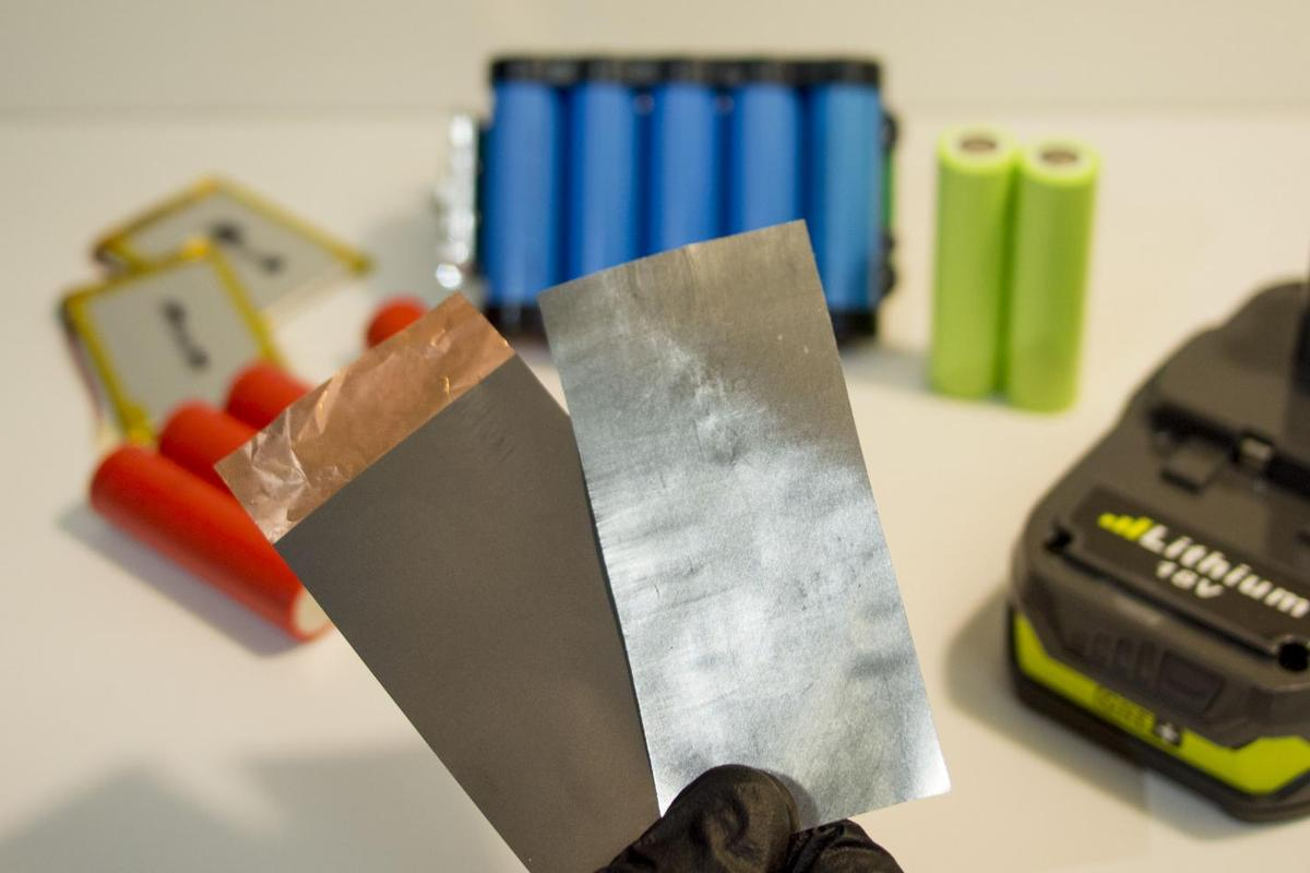 Researchers in Texashave developed a new battery anode (right)that is one quarter the thickness and half the weight of traditional anode (left)