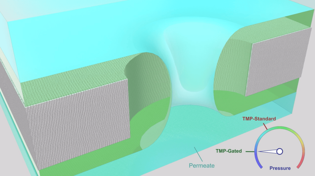 A diagram showing how the liquid-gated membrane works, with the filter material in grey, the water in blue and the liquid coating in green