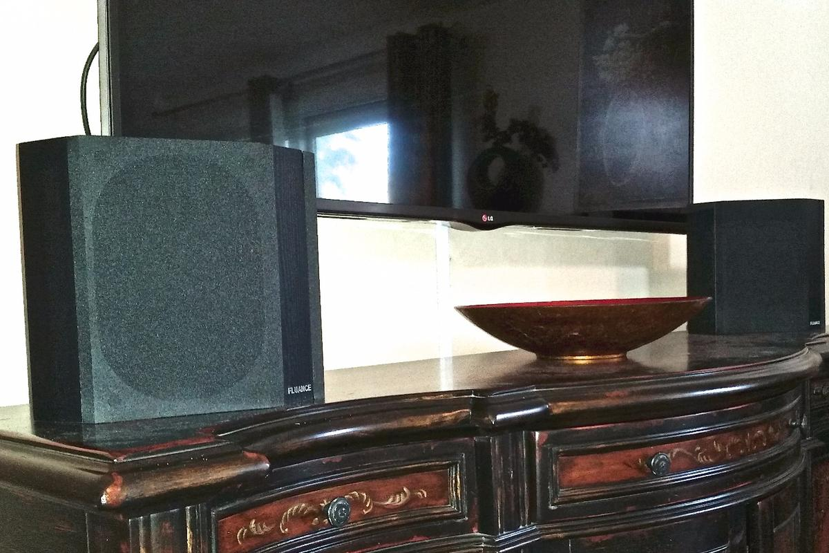 Fluance surround speakers set up in a living room, for home theater surround sound