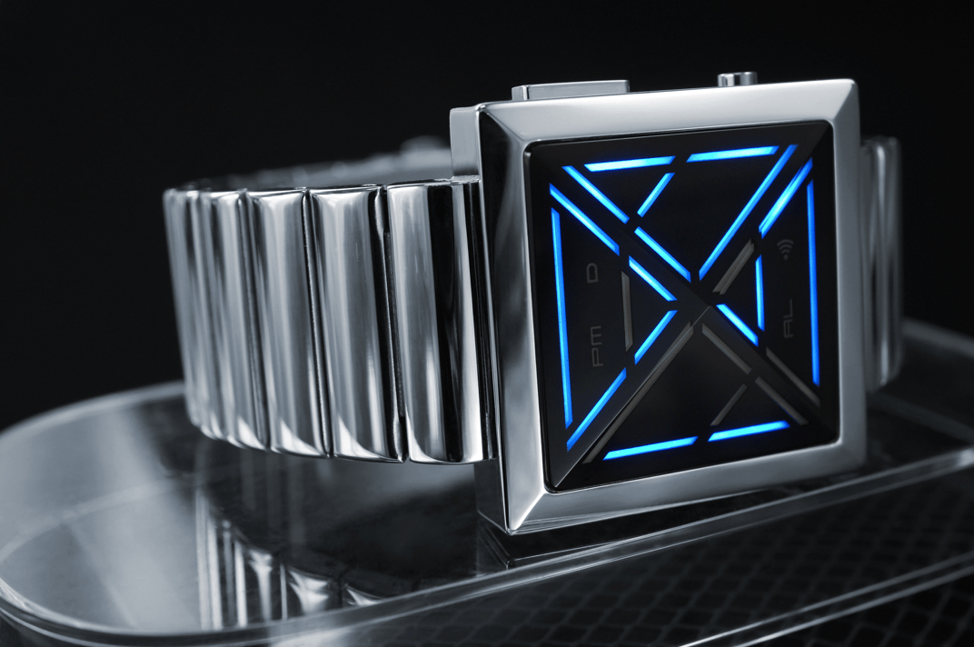 The Kisai X is available in stainless steel case and strap with silver or black finish