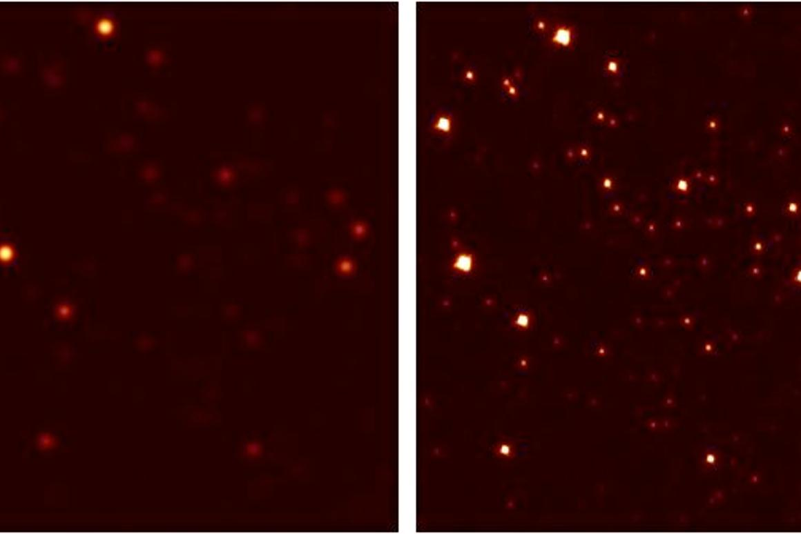 A section of Galactic Globular Cluster M3 as seen without (left) and with (right) Laser Adaptive Optics