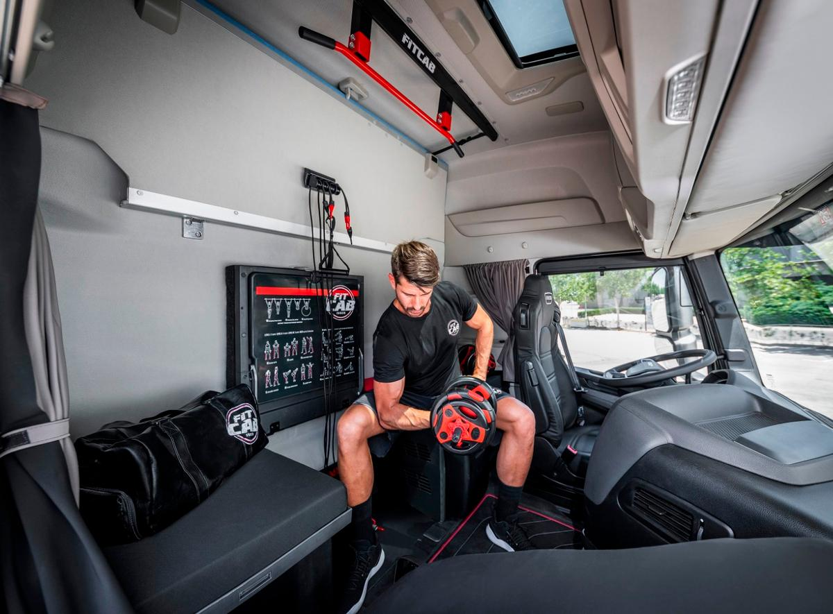 Onboard Iveco's Fit Cab conceptis a package with an assortment of resistance bands, sliders and weights