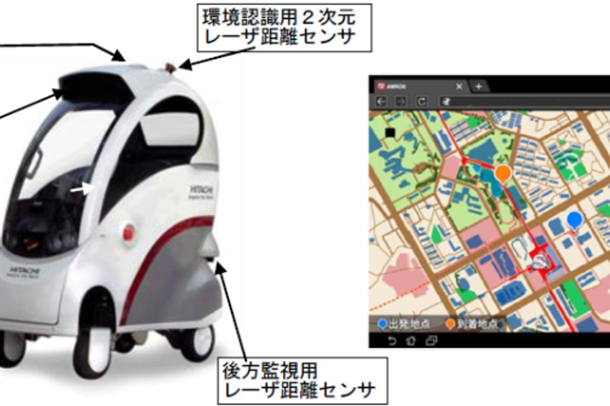 Hitachi's ROPITS' navigation system combines GPS, stereo cameras, and multiple laser range finders - and can drive to selected destinations on a tablet pc or mobile device