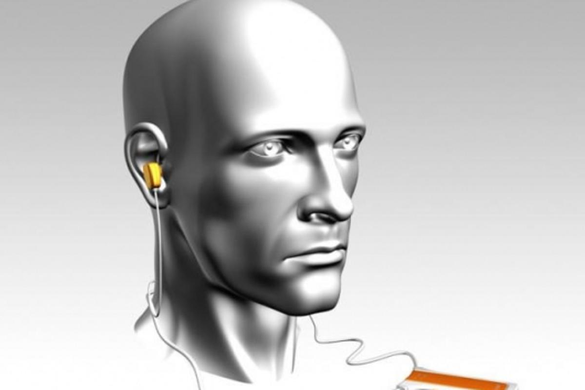 Sensear's noise reducing, speech-enhancing earplugs connect to a processing unit the size of an iPod Nano.