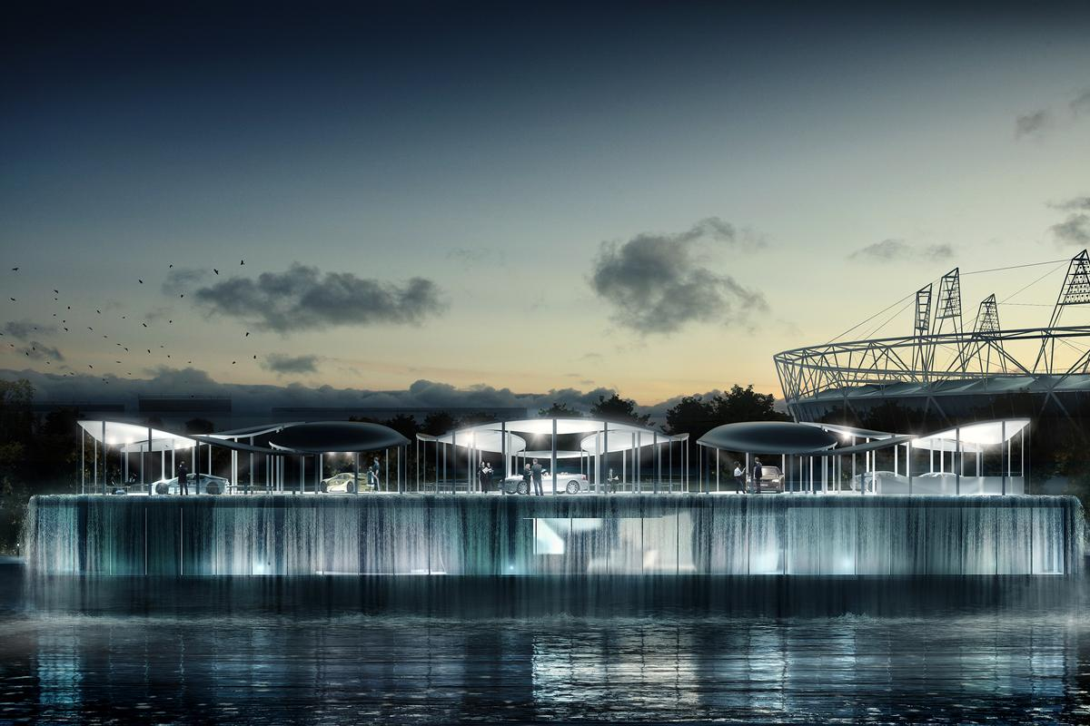 The defining feature of the BMW Olympic Pavilion is its waterfall plinth