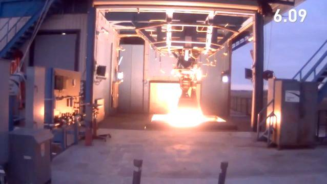 The Merlin 1D engine, being tested at the SpaceX rocket development facility