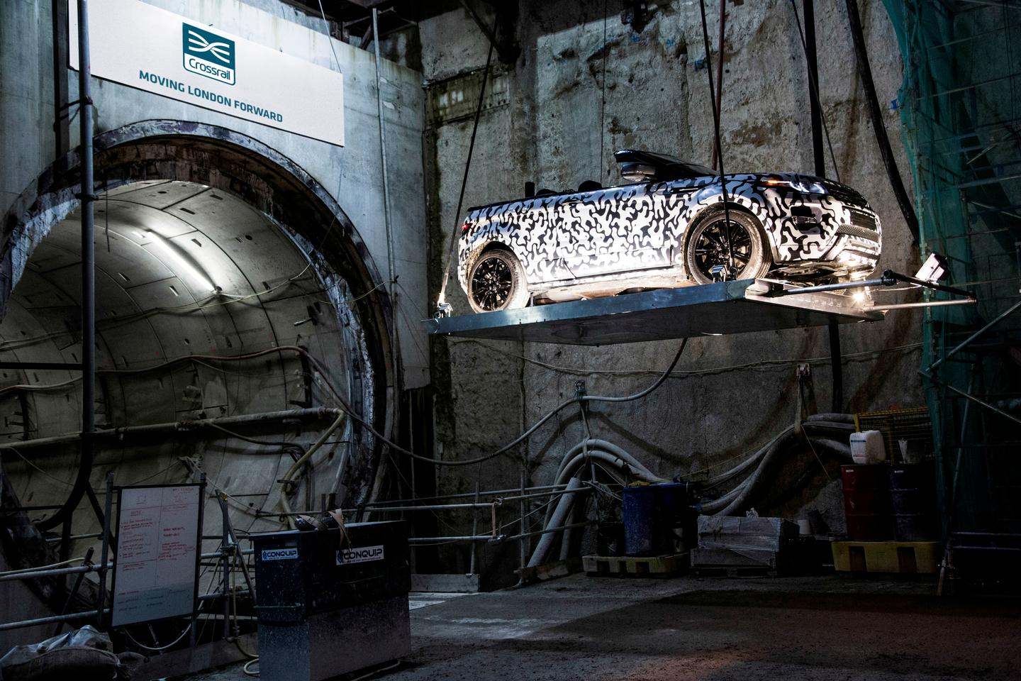 The first Range Rover Evoque Convertible prototype makes its way into the Crossrail tunnels