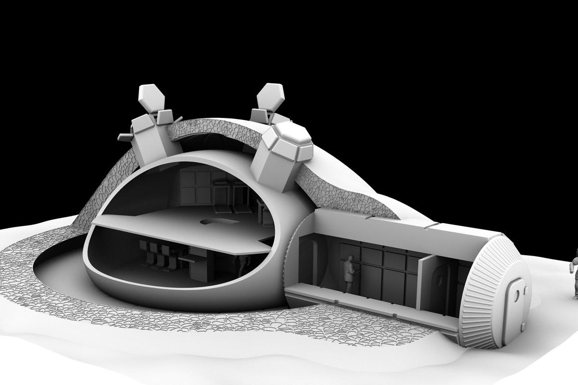 Artist's impression of Foster + Partners' concept of a partially 3D-printed moonbase (Image: ESA, Foster + Partners)