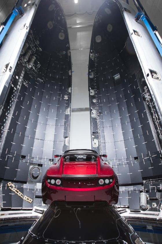 The Tesla Roadster in the Falcon Heavy fairing