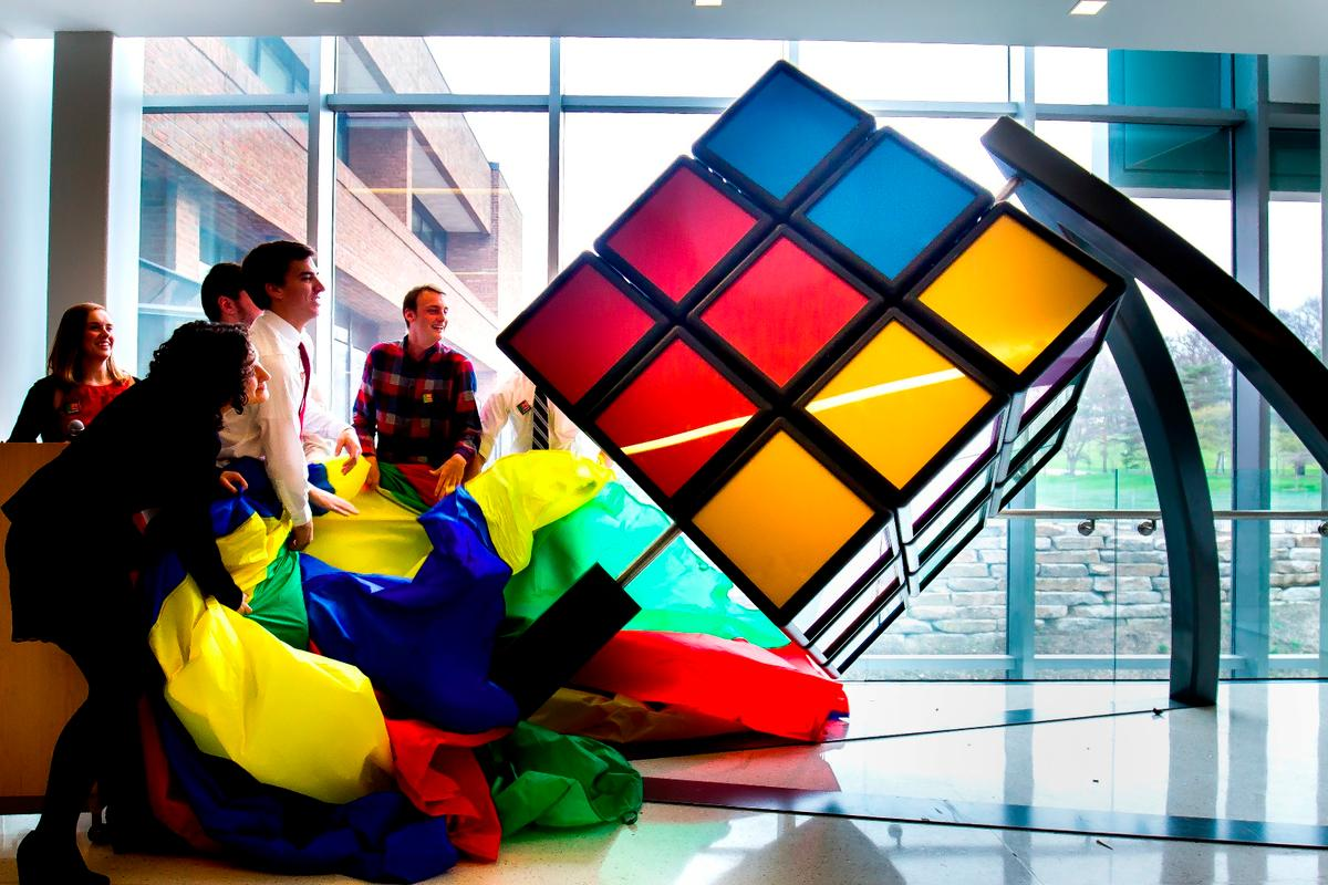 The cube is unveiled at the university's G.G. Brown Building