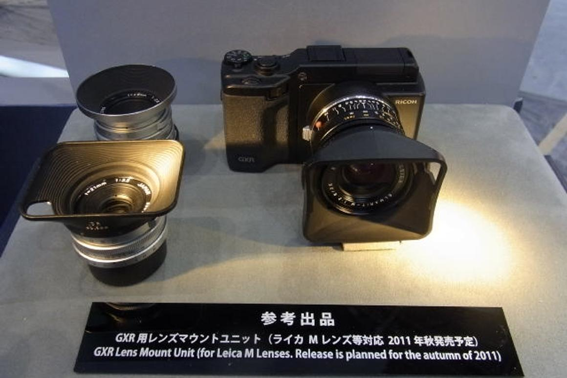 A mock-up of Ricoh's new GXR Lens Mount Unit on display at the CP Camera and Photo Imaging Show in Yokohama recently
