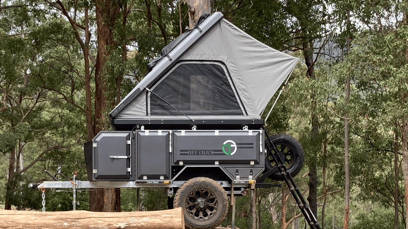 The Offtrax trailer can work with other rooftop tents, but it's designed around the Camp King that comes standard