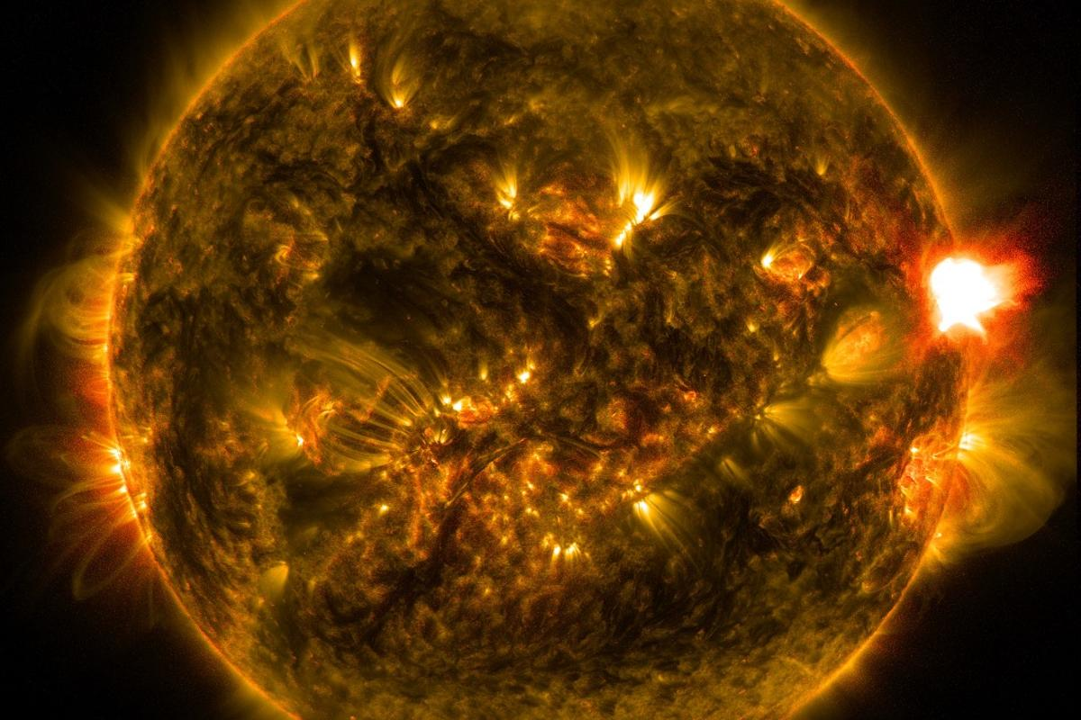 An M5.6-class flare observed by NASA's Solar Dynamics Observatory on Jan. 12, 2015