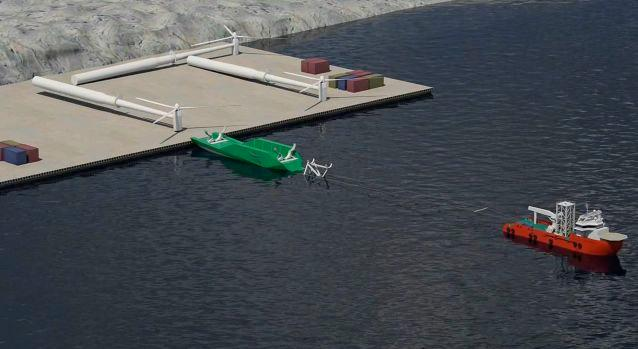 The WindFlip system would start with fully-assembled turbines being loaded horizontally onto purpose-built barges