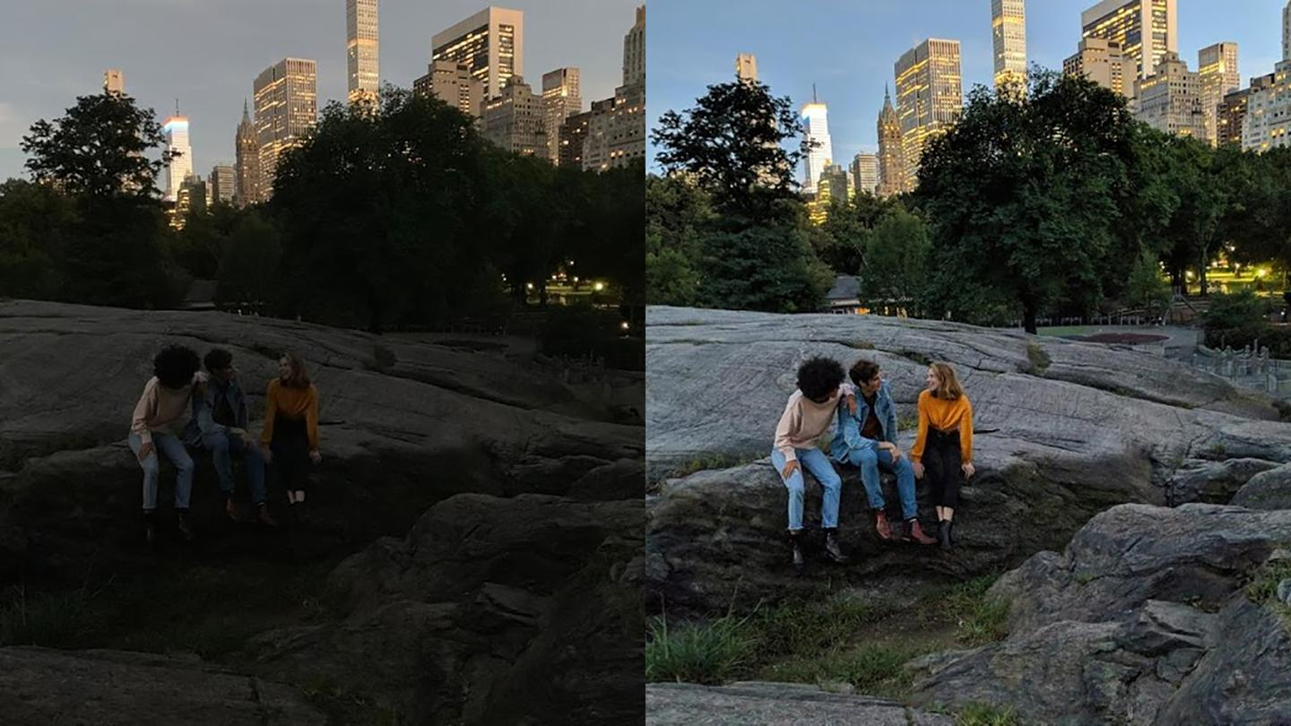 Google's own Night Sight comparison– the iPhoneXS on the left and the Pixel 3 on the right