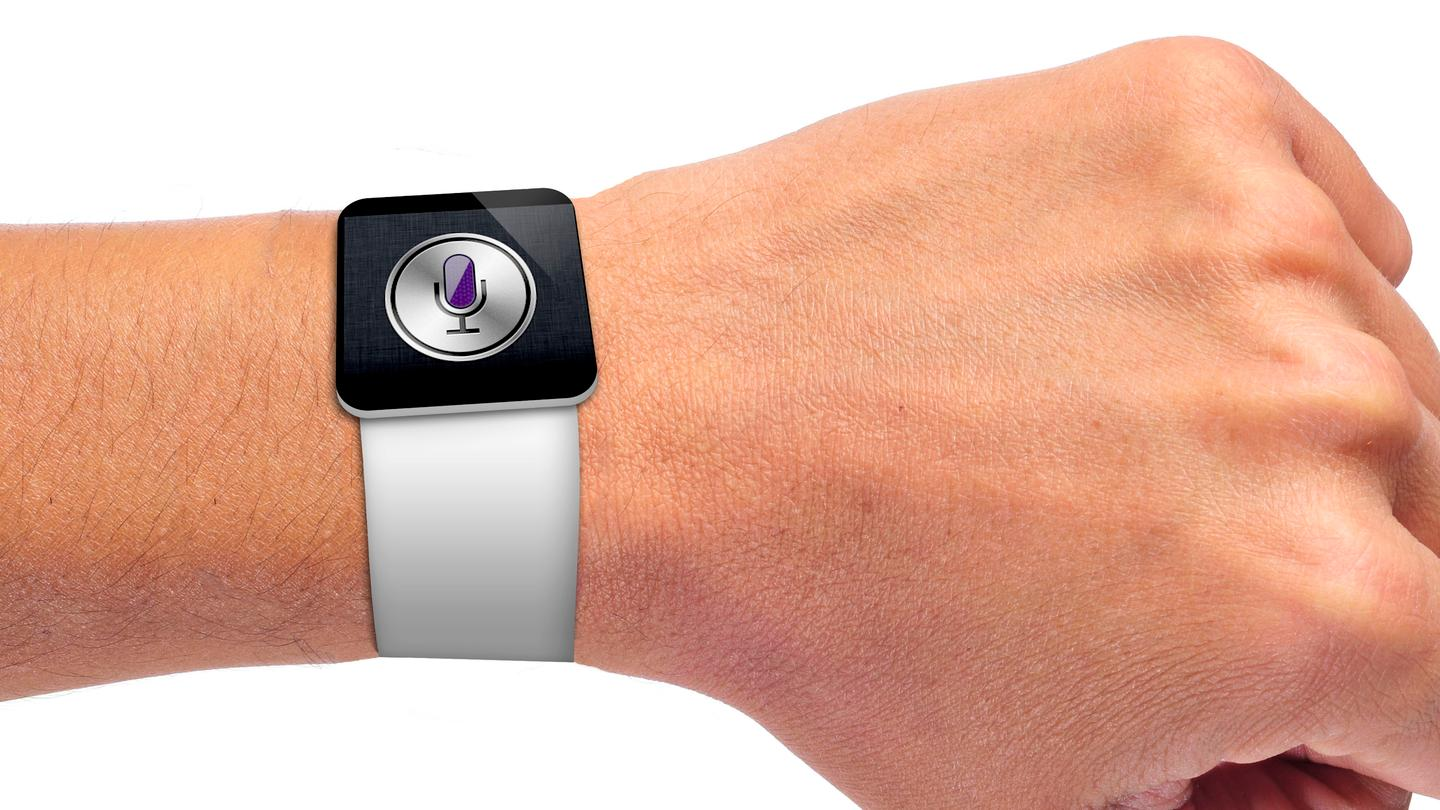 Our quick render shows what an iWatch might look like (wrist image: Shutterstock)