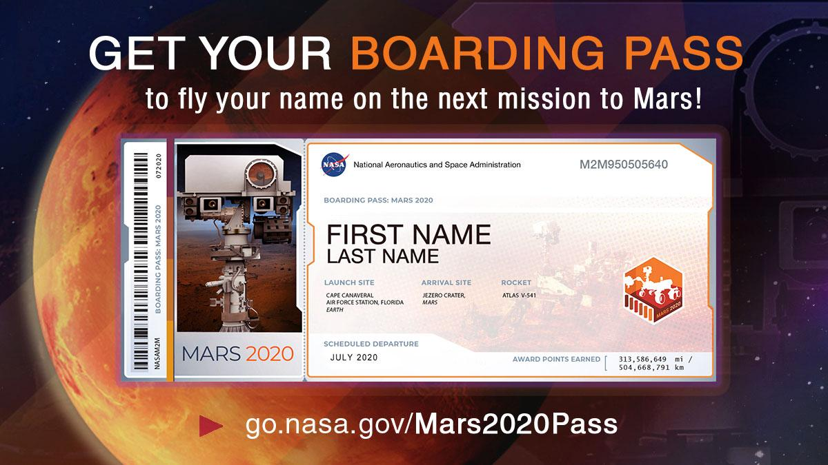 An example boarding pass received by people after signing up to have their names accompany the Mars 2020 rover to the Red Planet