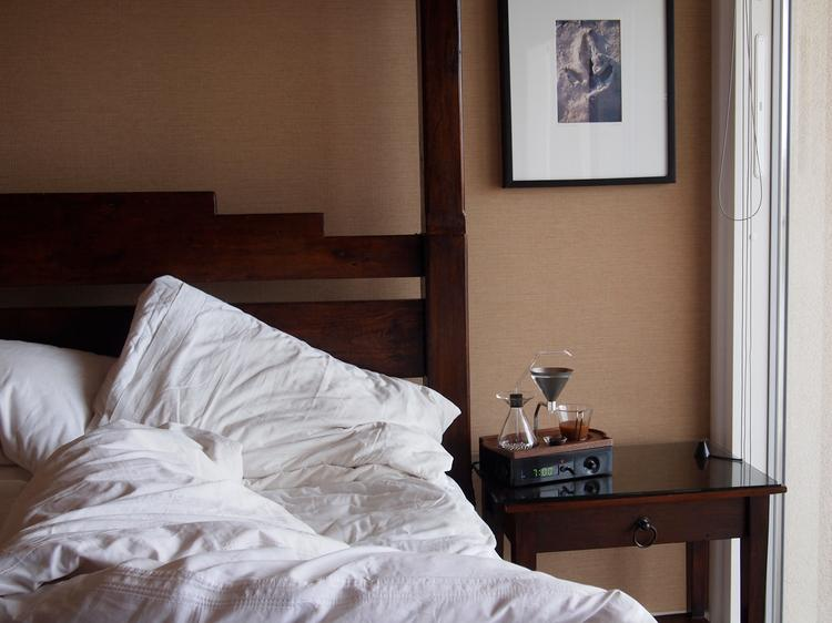 The Barisieur has a fresh cup of coffee ready and waiting for when you wake up