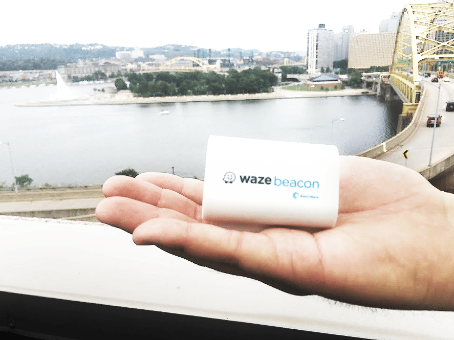 Waze Beacons are battery-powered wireless transmitters that can be installed in tunnels to send navigation signals directly to a smartphone or tablet via Bluetooth when GPS satellite signals are unavailable
