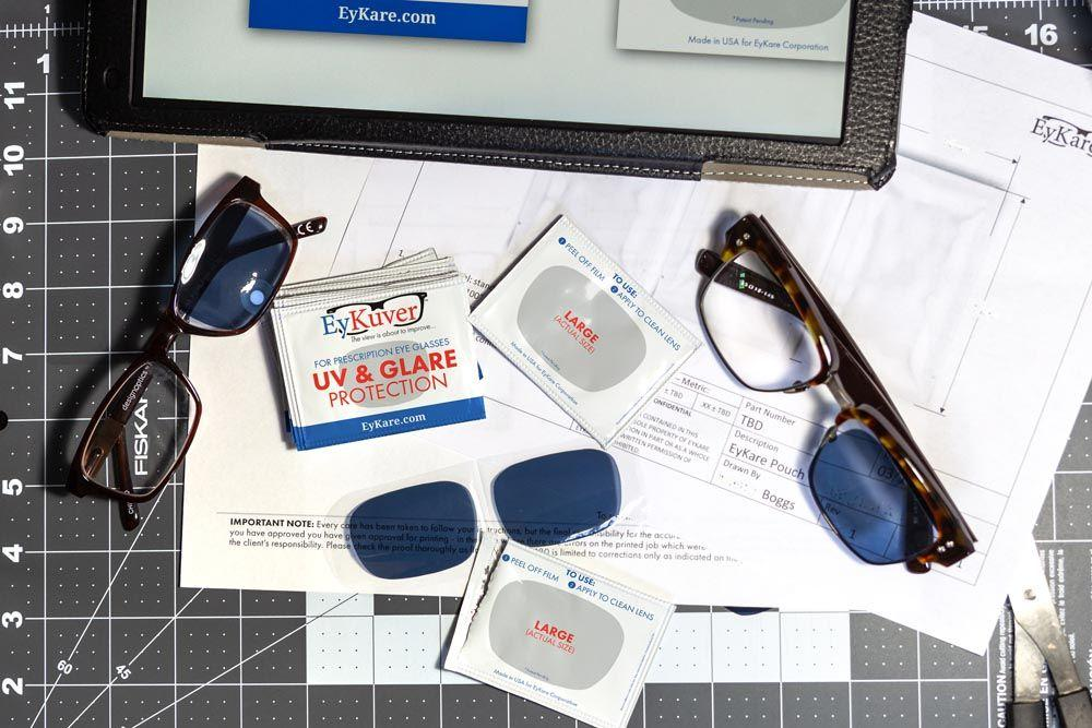 EyKuvers temporarily convert your prescription glasses into functional shades