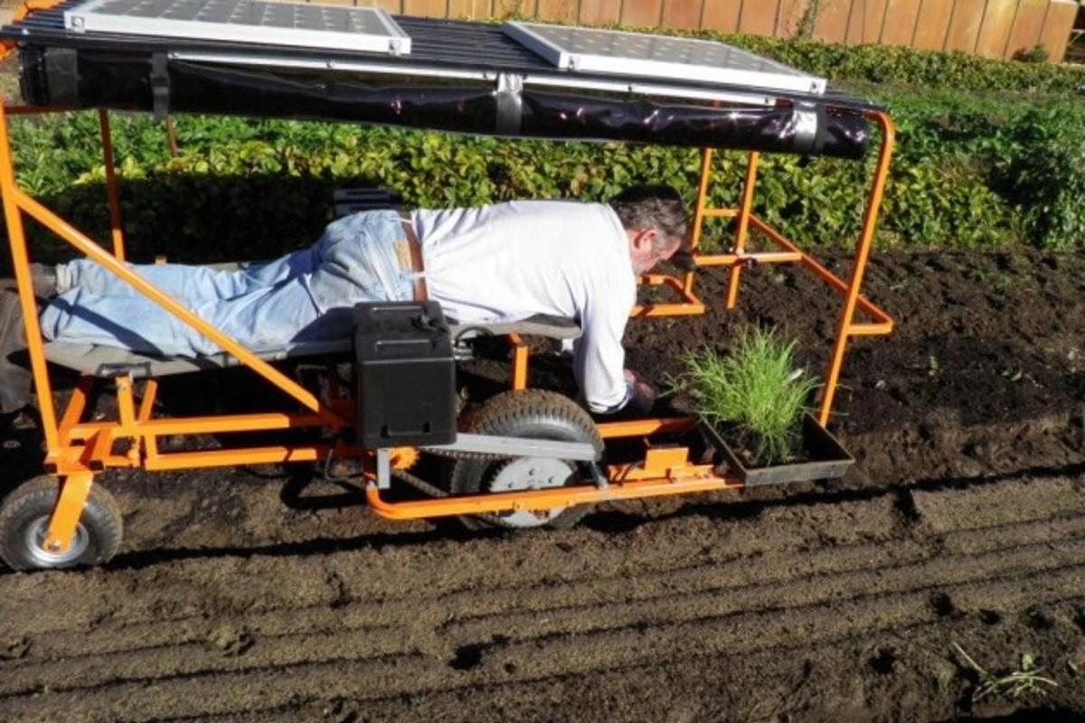 Inventor Brendan Corry demonstrating his Wunda Weeder