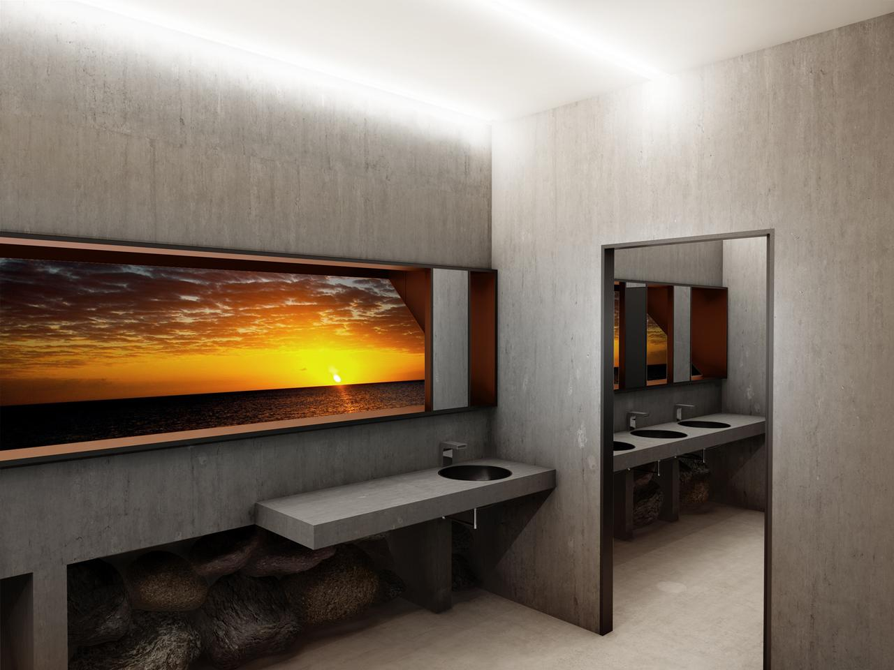 Those washing their hands can gaze at the Baltic Sea without having their view interrupted by passing people (Image: Adam Wierciński Architekt)