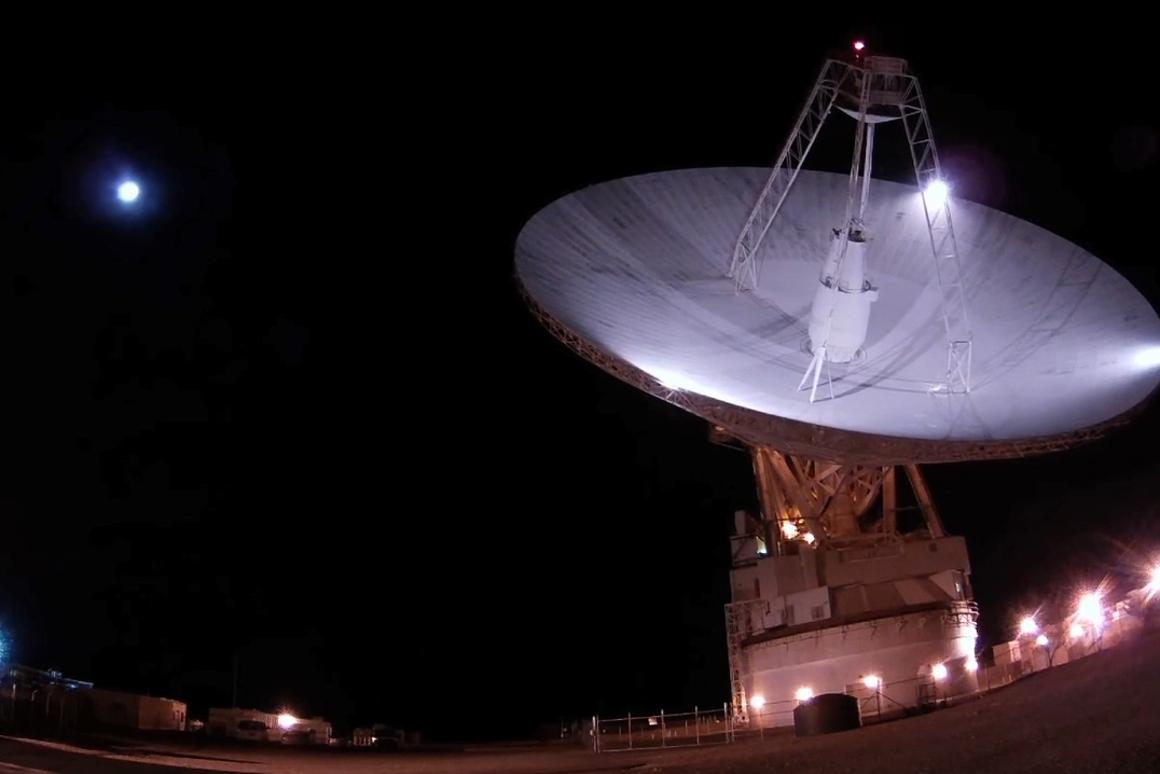 A tight, high-powered radar beam was fired at the Moon using NASA's 70-meter (230-foot) antenna located at the Goldstone Deep Space Communications Complex in California