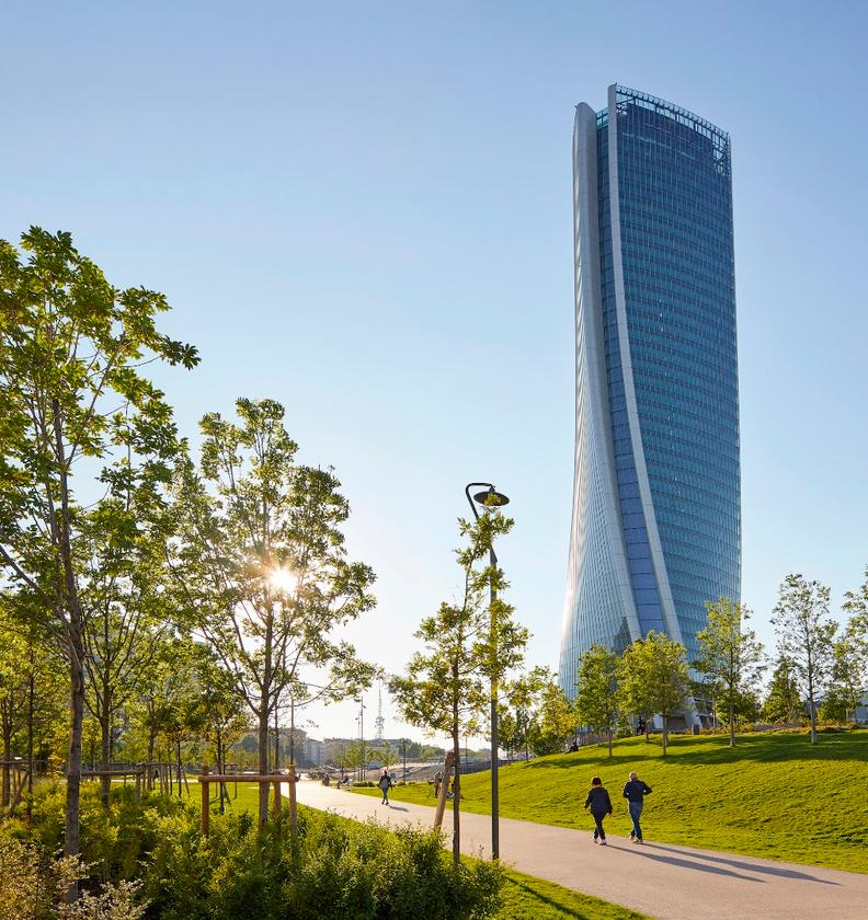 The Generali Tower rises to a height of 170 m (557 ft)