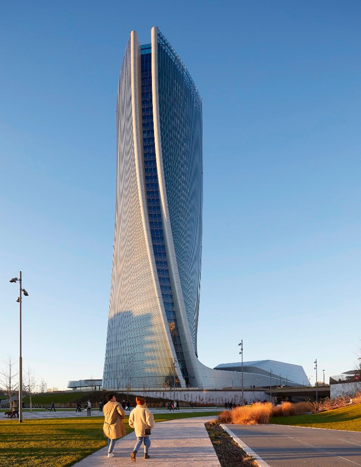 The Generali Tower reaches a height of 170 m (557 ft)