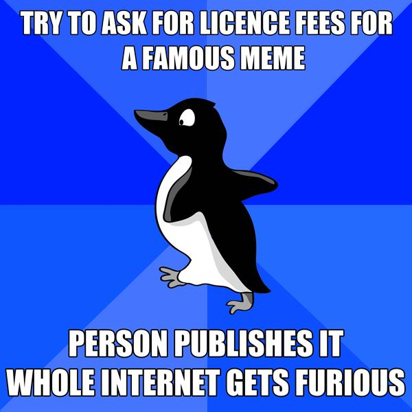 After the Geeksisters were served with an infringement notice they removed the offending penguin image and republished the meme with a crudely drawn replacement.