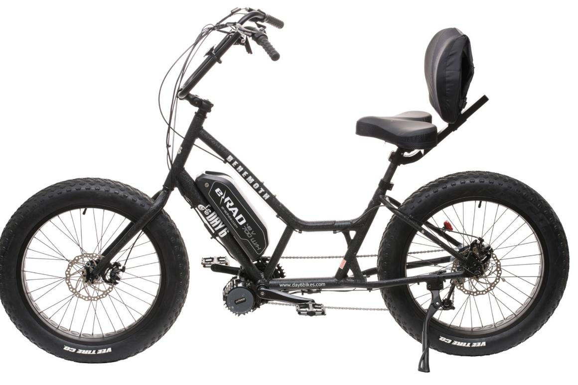 The Behemoth from Day 6 Bicycles: a thousand-watt, fat-tire comfort cruiser with lumbar support