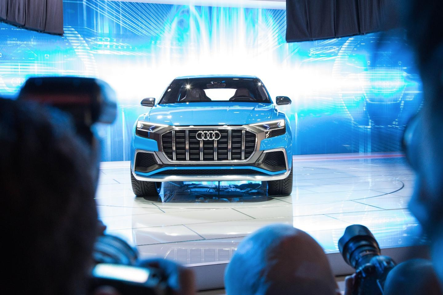 """The press is taken aback by the """"I will eat you"""" stance of the emerging Audi Q8 in its unveil during the Detroit Auto Show"""