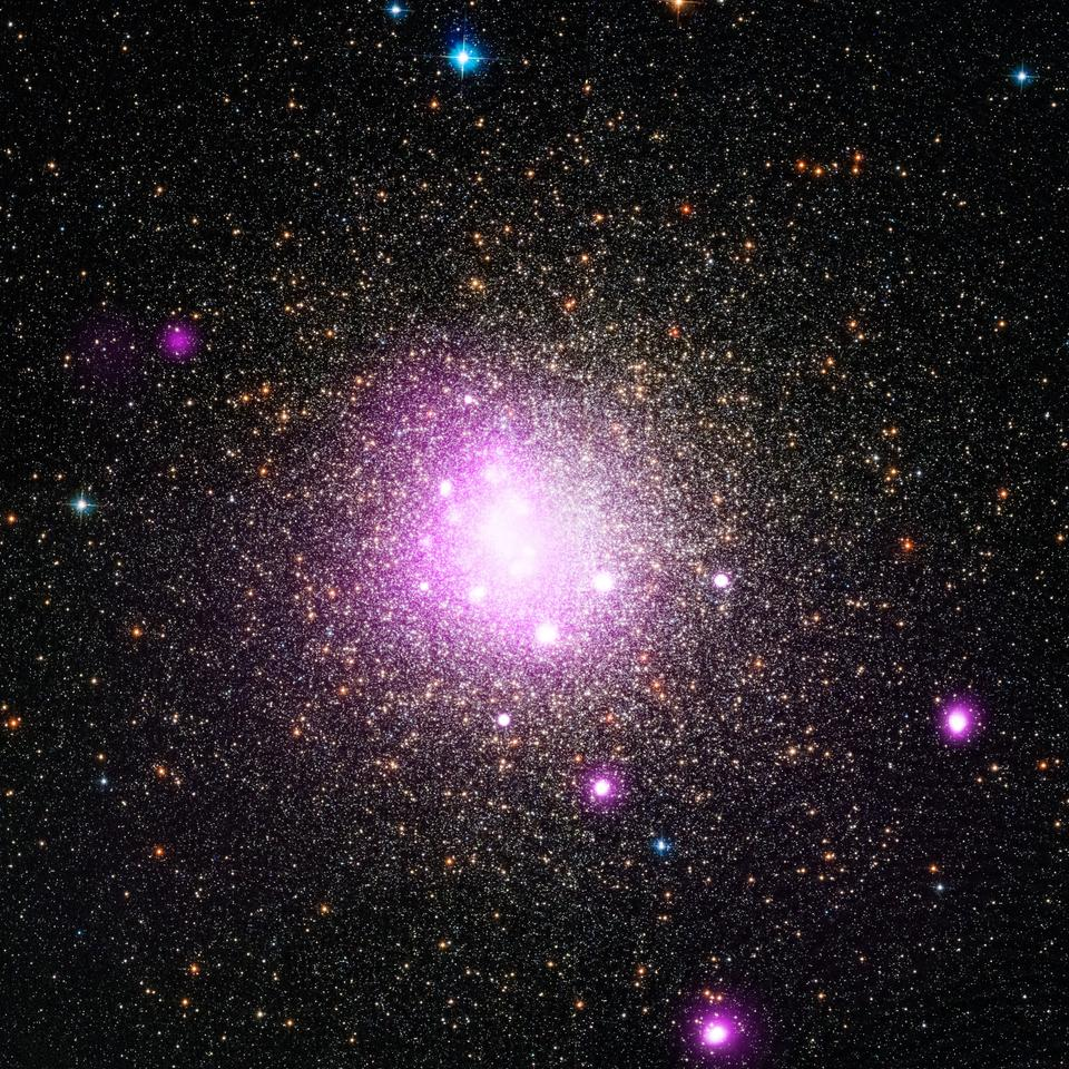 A Chandra X-ray image of the globular cluster NGC 6388, where astronomers have previously found evidence of planets destroyed by white dwarf stars