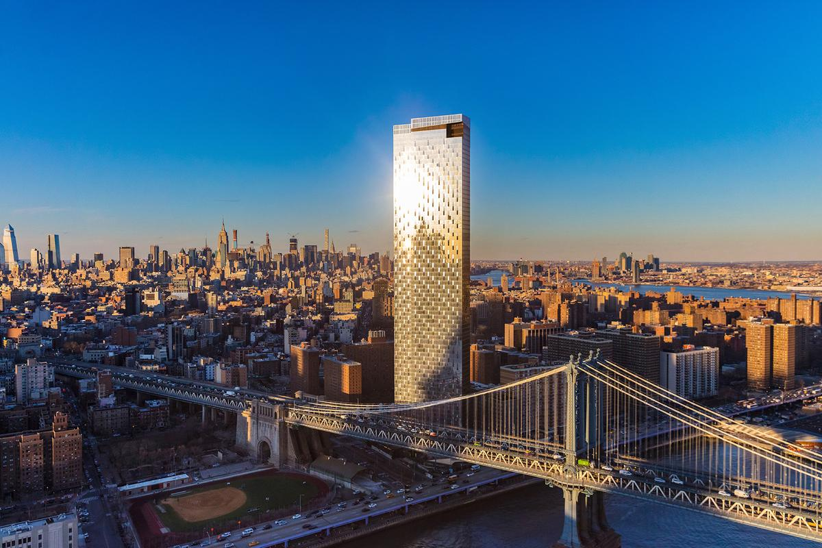 One Manhattan Square rises to a height of 258 m (846 ft) on Manhattan's East River waterfront