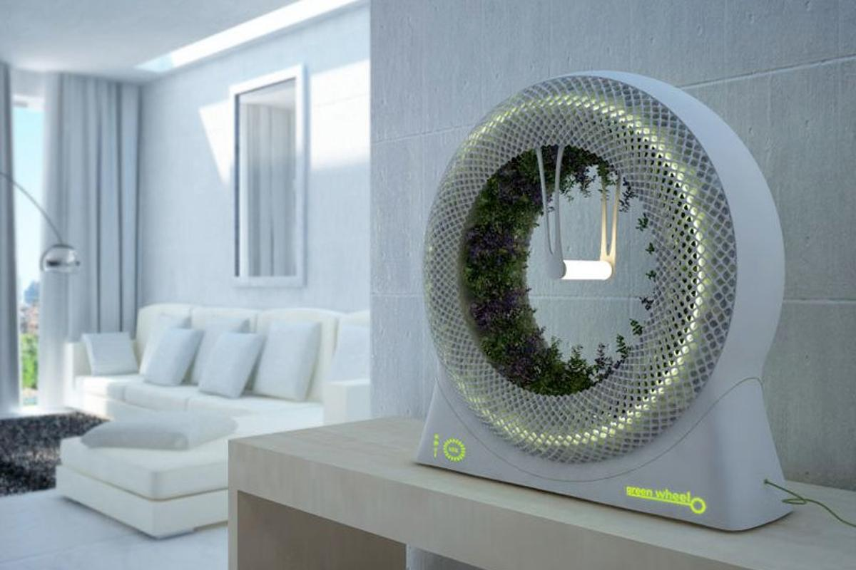 The Green Wheel is an indoor gardening concept, in which hydroponically-grown plants rotate around a central light source