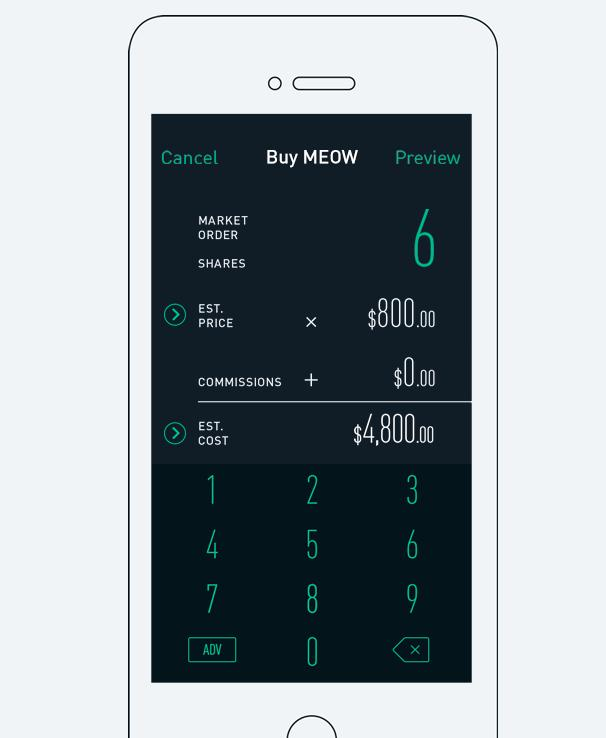 The buying screen of Robinhood's zero-commission trading app