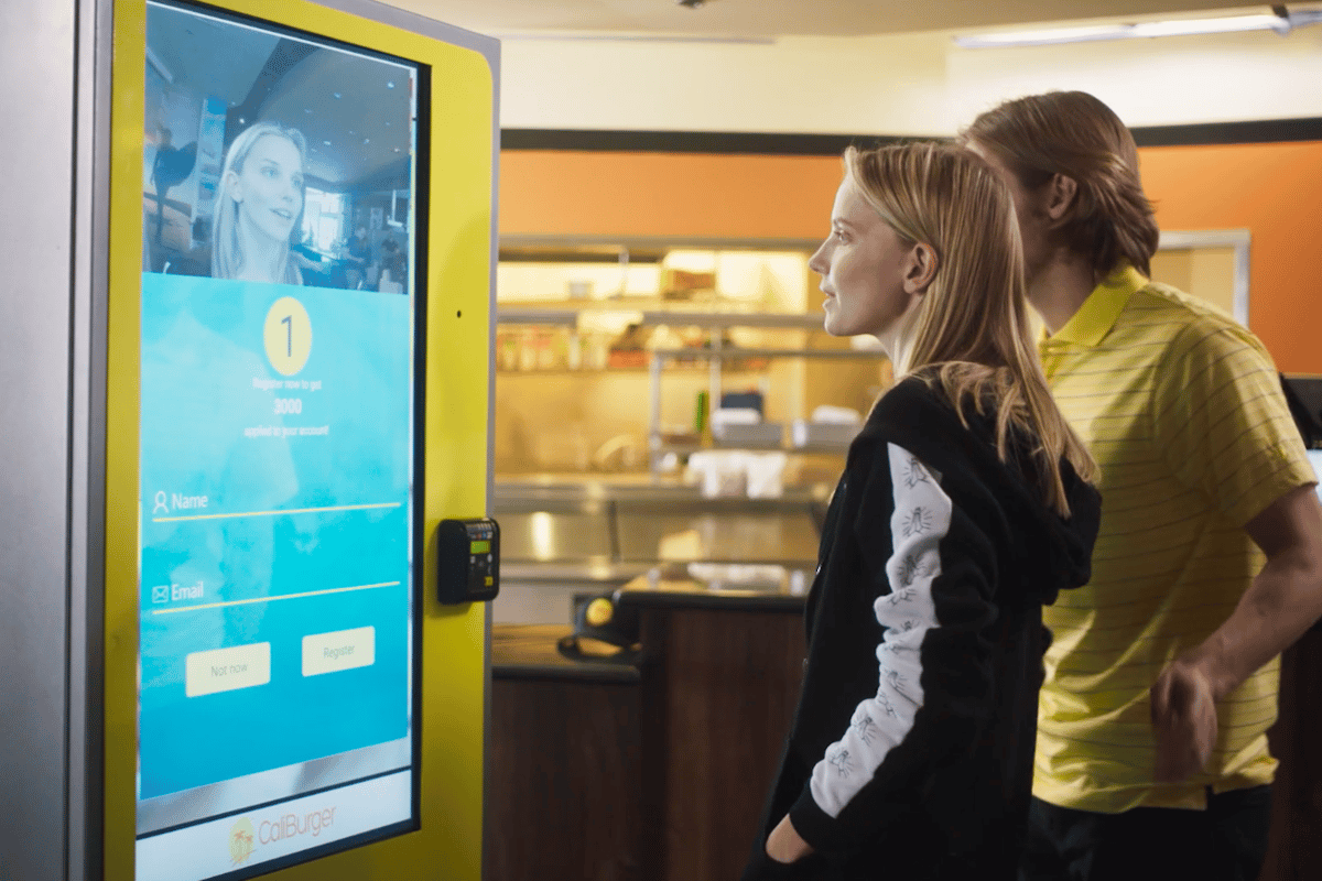 This kiosk recognizes your face and brings up past orders instantly