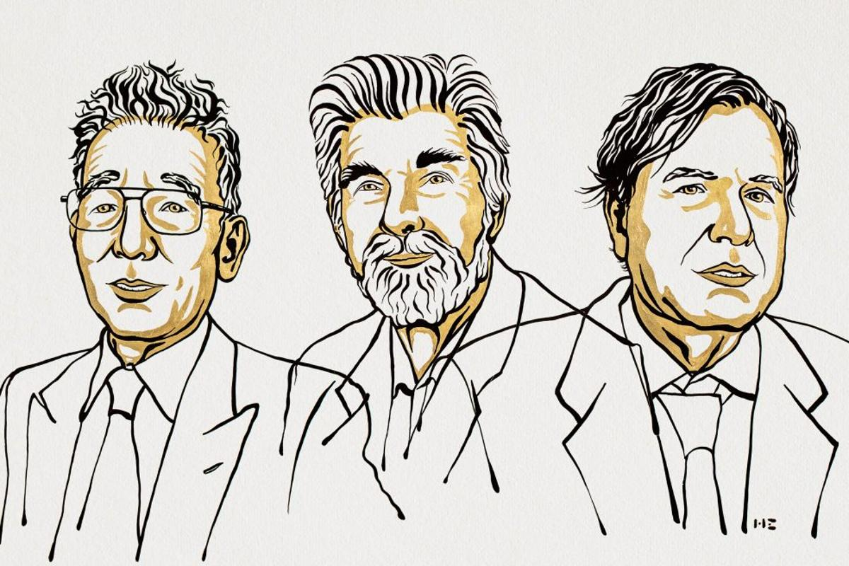 The official portrait for the 2021 Nobel Prize in Physics laureates, Syukuro Manabe, Klaus Hasselmann and Giorgio Parisi