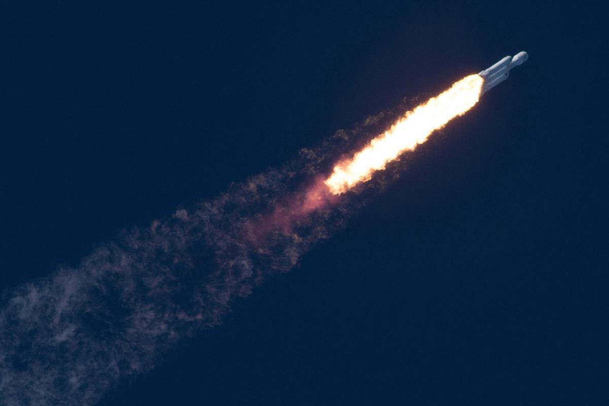 Falcon Heavypowering into space