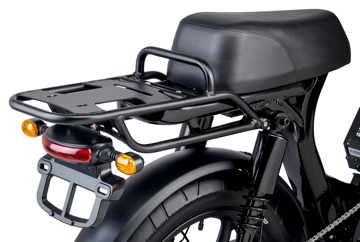 Chunky rear rack, plus motorcycle-style brake lights, indicators and a license plate holder