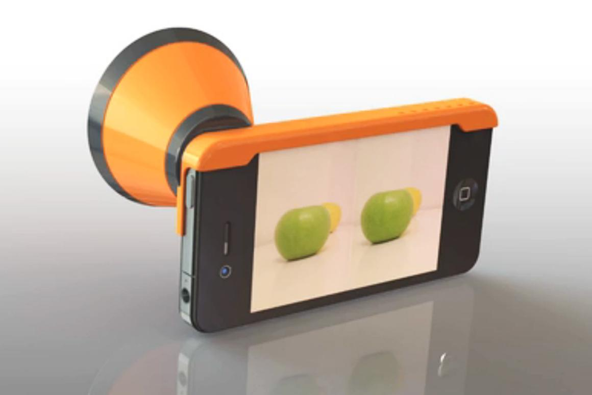 The 3Dcone is an attachment for the iPhone that allows it to capture stereo pair images
