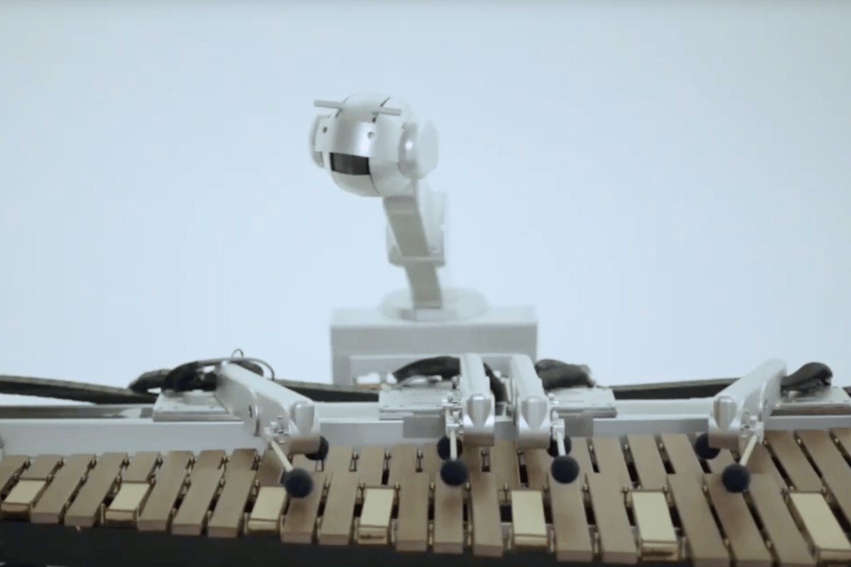 Shimon is a musical robot that plays the marimba, sings, writes its own lyrics and composes some melodies