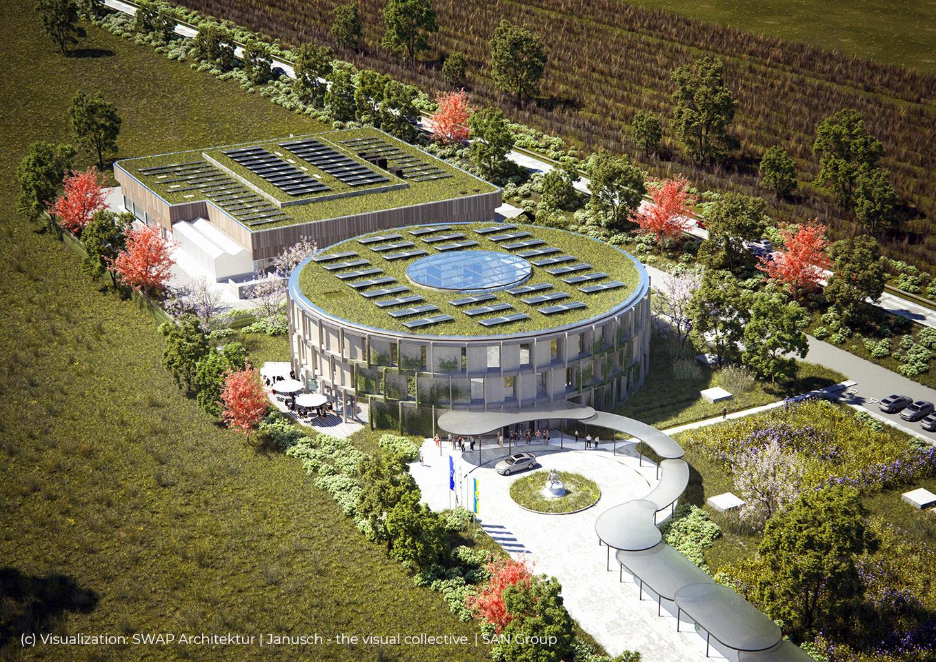 Visualization of the SAN Biotech Park under construction in Herzogenburg, with its huge 1.5 MW solar array on top