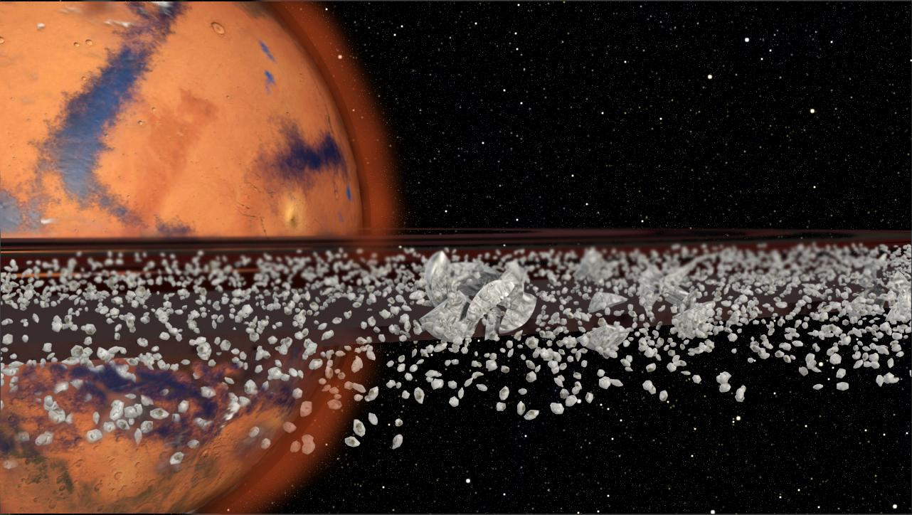 Purdue scientist believe that some of the unexplained sediments onMars' could be due to rubblefrom a disintegrating moon